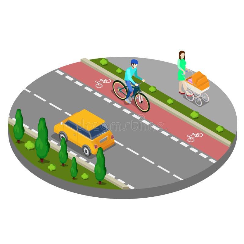 Isometrische Stadt Fahrrad-Weg mit Radfahrer-Fußweg mit Frau vektor abbildung