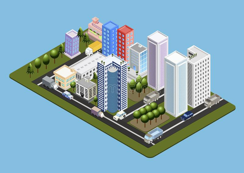 Isometrische Stadt-Illustration 01 lizenzfreies stockbild