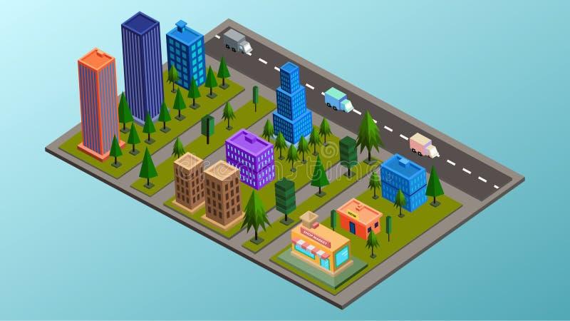 Isometrische Stadt-Illustration 01 lizenzfreie stockfotos