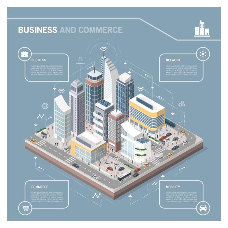 Isometrische Stadt mit den Wolkenkratzern infographic vektor abbildung