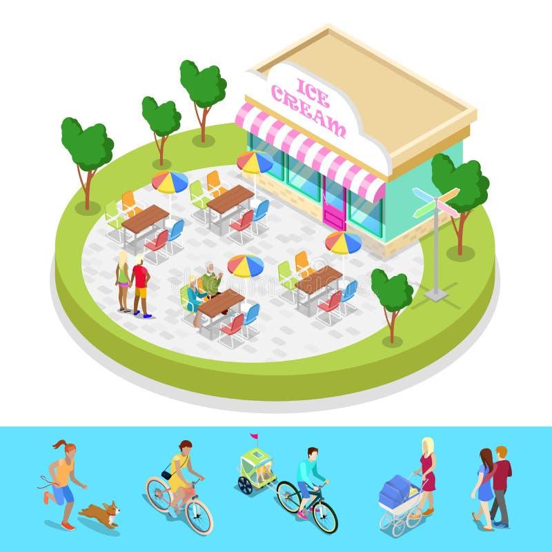 Isometrische Stadt-Park-Zusammensetzung mit Café und gehenden Leuten Im Freienaktivität vektor abbildung