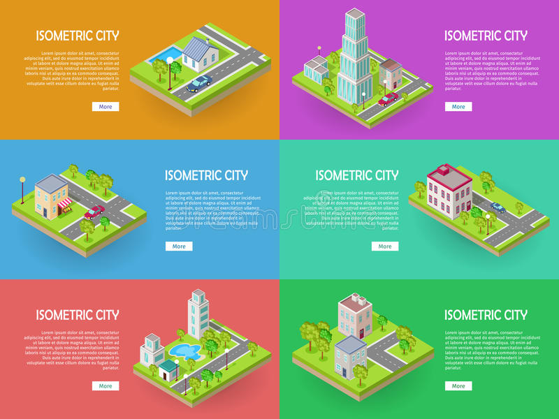 Isometrische Stadt-Vektor-Netz-Fahnen eingestellt Architektur lizenzfreie abbildung