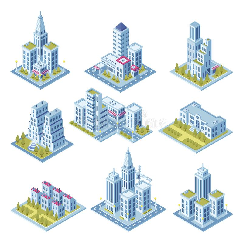 Isometrische Stadtarchitektur, Stadtbildgebäude, Landschaftsgarten und Bürowolkenkratzer Gebäude für 3d Straßenkarte vektor abbildung