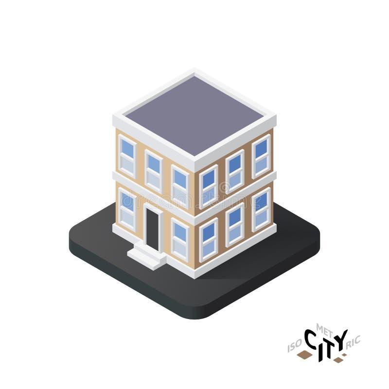 Isometrische Stadtwohnungsikone, errichtendes infographic Element der Stadt, Vektorillustration lizenzfreie abbildung