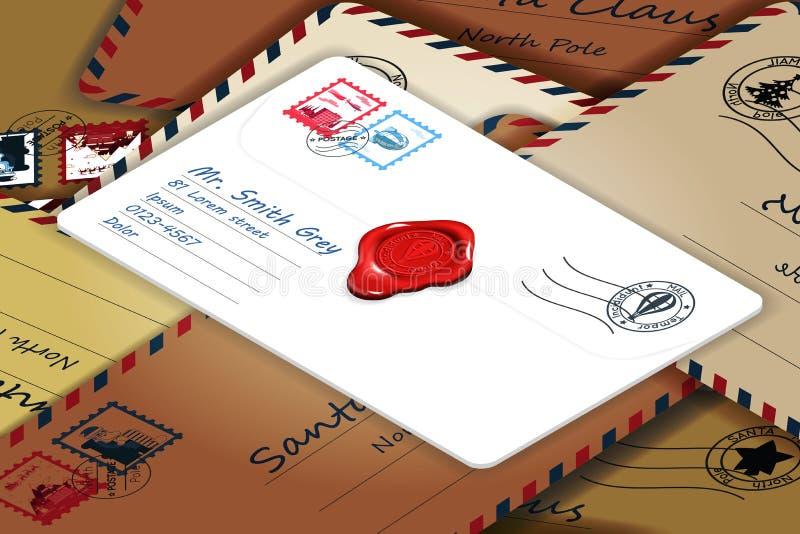Isometrische stapel van de post van van de de brievenpostzegel van de adrespost het malplaatje vectorillustratie vector illustratie