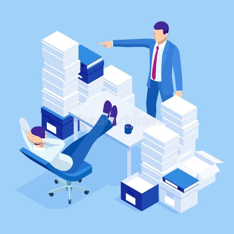 Isometrische stapels administratie en dossiers in het bureau, bureaucratie, overbelasting Bureaucraat in het bureau vector illustratie