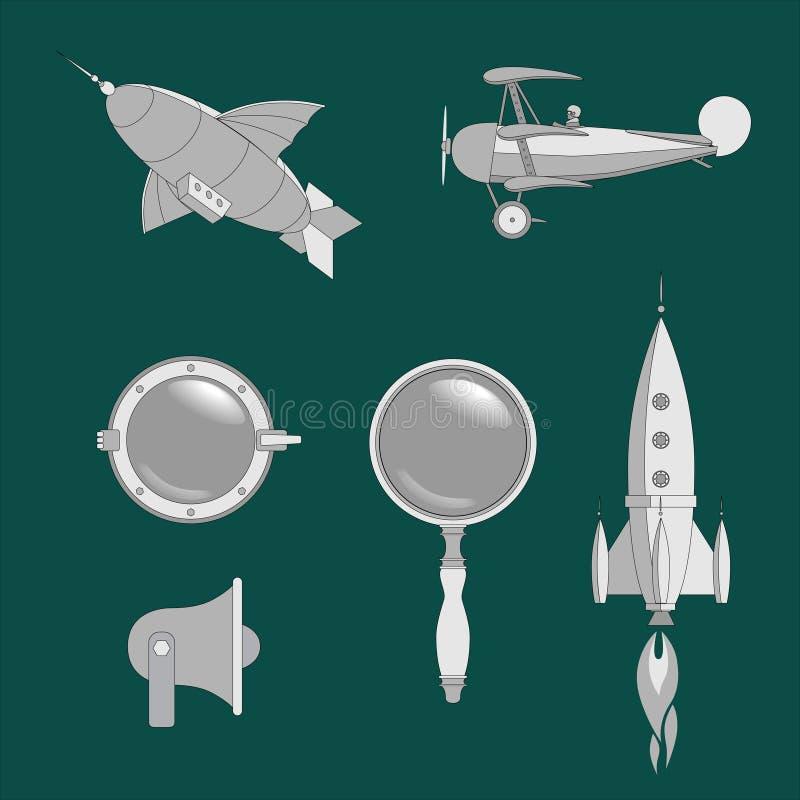 Isometrische steampunk Netzelemente, -luftschiff, -flugzeug, -öffnung, -linse, -rakete und -megaphon vektor abbildung