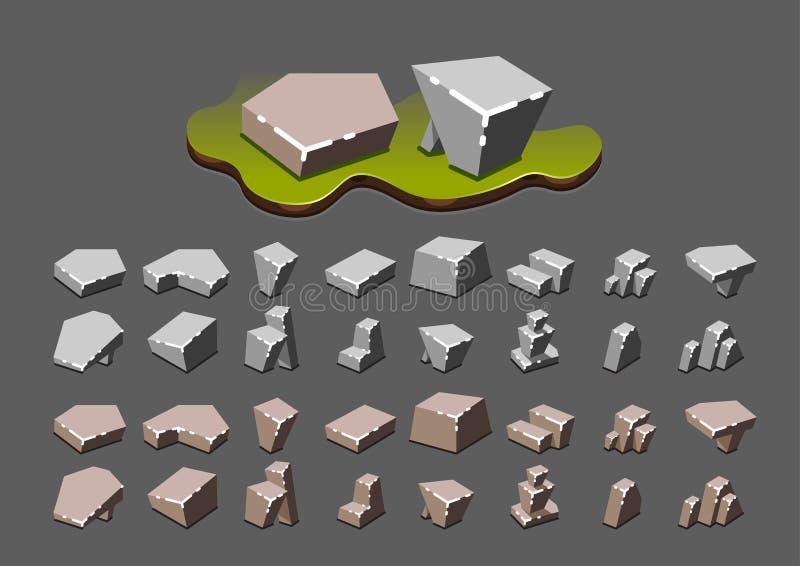 Isometrische stenen voor videospelletjes royalty-vrije illustratie