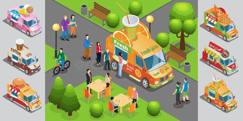 Isometrische Straßen-Lebensmittel-Schablone stock abbildung