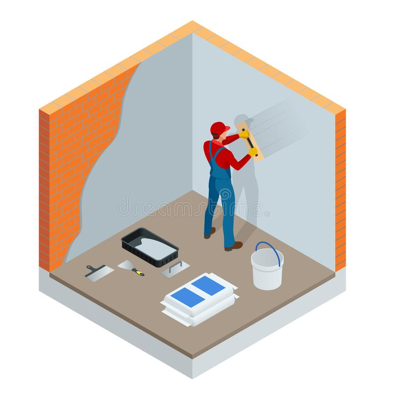 Isometrische stukadoor die binnenmuren en plafonds met vlotter en pleister vernieuwen Bouw het eindigen de werken stock illustratie