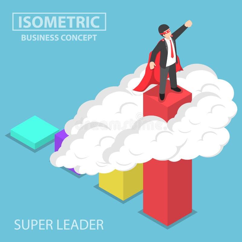 Isometrische super zakenman die zich op de bovenkant van de grafiek bevinden vector illustratie