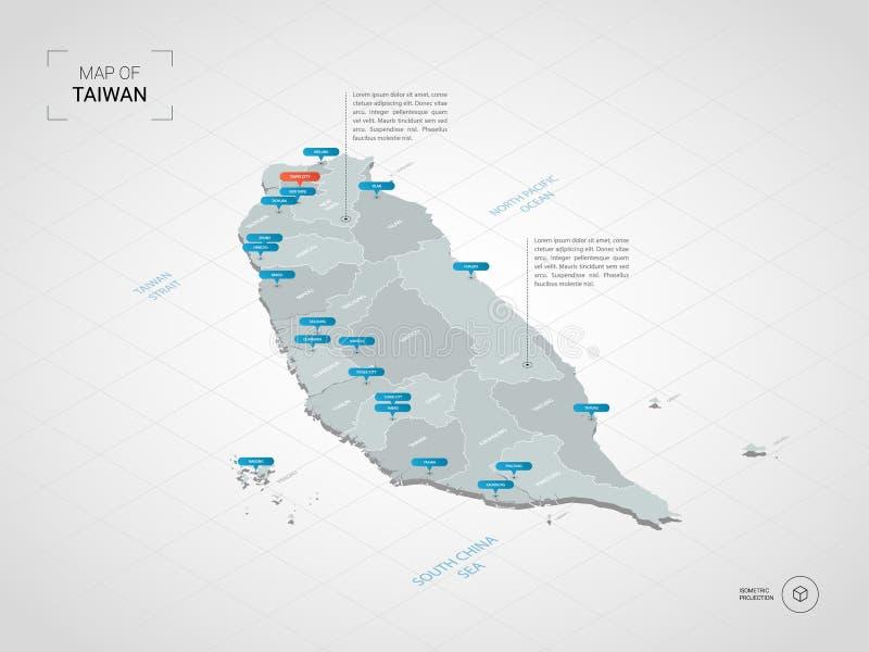 Isometrische Taiwan-Karte mit Stadtnamen und Verwaltungsabteilung lizenzfreie abbildung