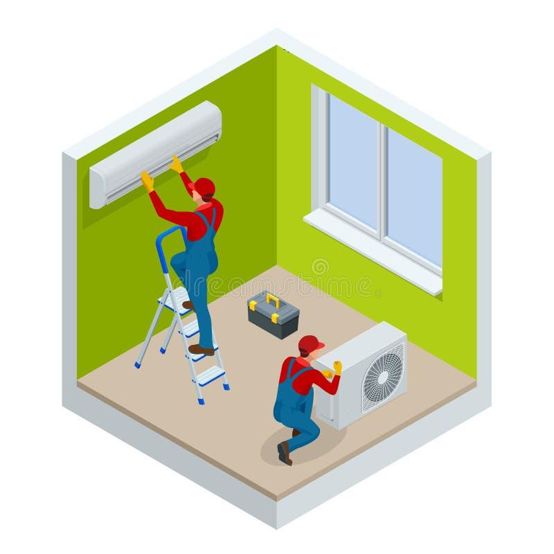 Isometrische technicus die gespleten airconditioner op een witte muur herstellen Bouwbouwnijverheid, nieuw huis stock illustratie