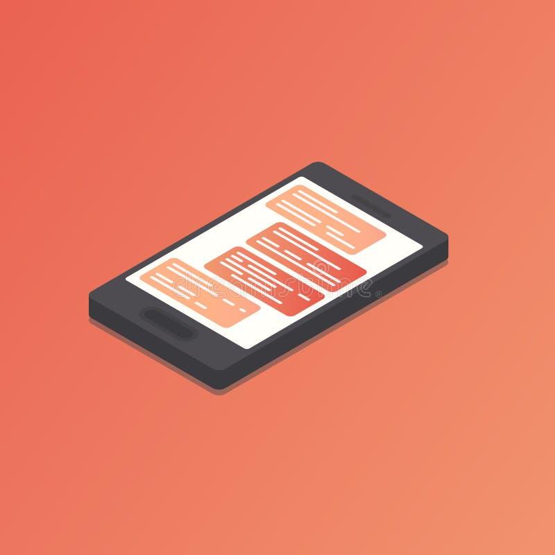 Isometrische telefoon met praatje op het scherm stock illustratie