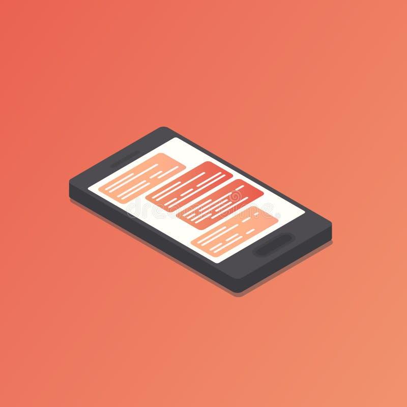 Isometrische telefoon met praatje op het scherm vector illustratie