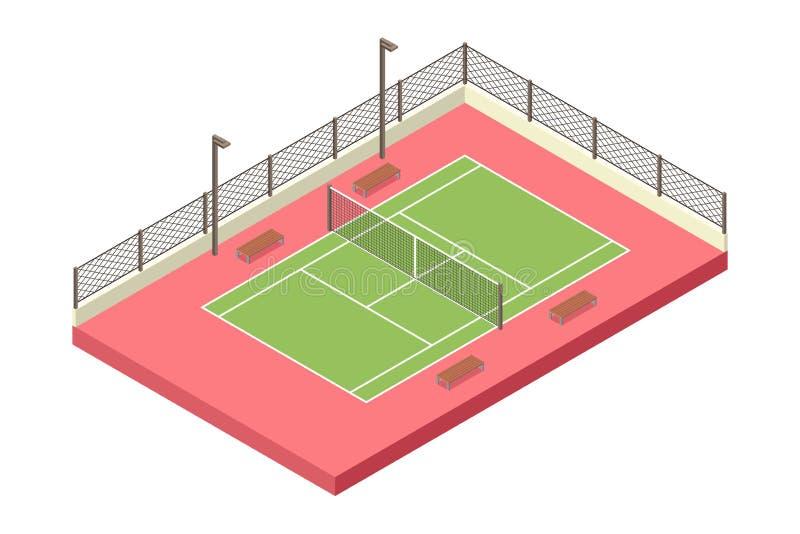 Isometrische Tennis Openluchthof Illustratie royalty-vrije illustratie
