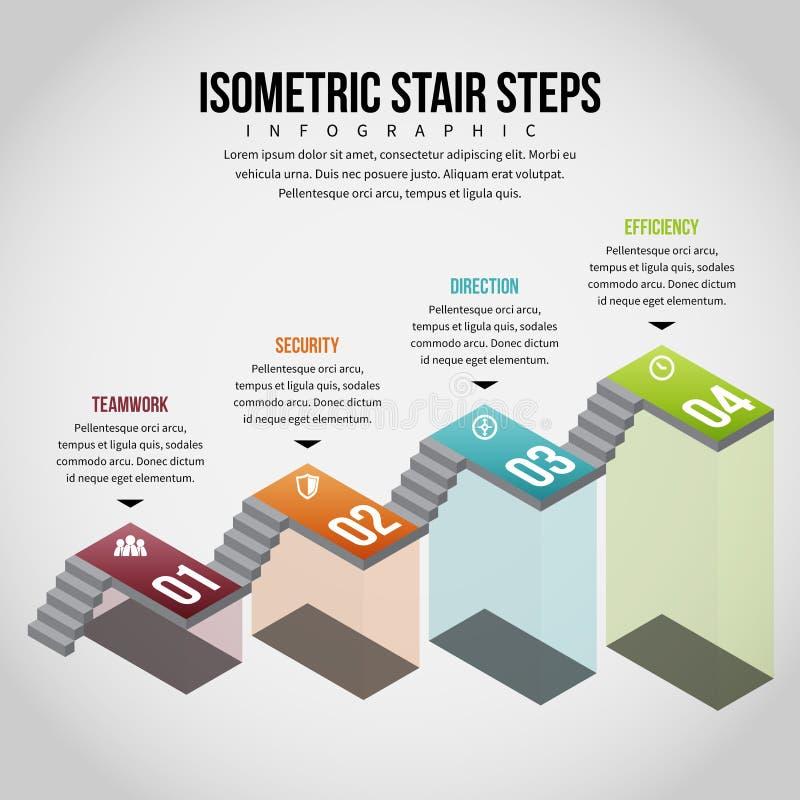 Isometrische Tredestappen Infographic royalty-vrije illustratie