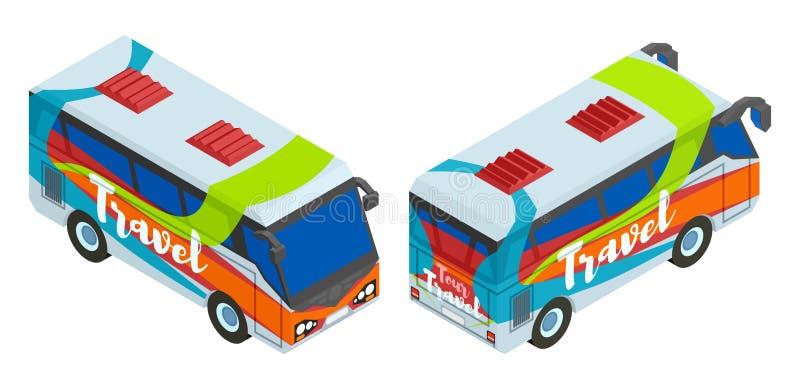 Isometrische twee toeristenbus voor reis royalty-vrije illustratie