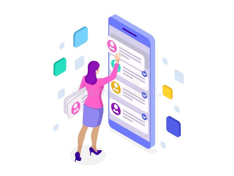 Isometrische uxapp ontwikkeling en holdingssmartphone Gebruikerservaring Websiteontwerp en ontwikkeling stock illustratie