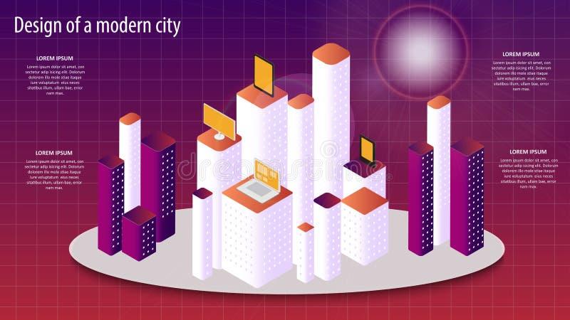 Isometrische vector 3d illustratie van een modern stadsontwerp Eps 10 vector illustratie