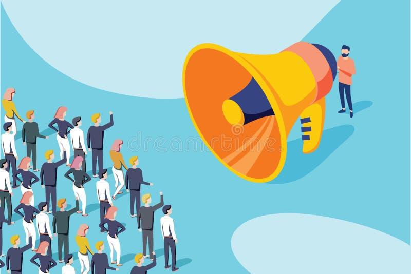 Isometrische vector van een zakenman of politicus die met megafoon tot een aankondiging een maken aan een menigte van mensen stock illustratie