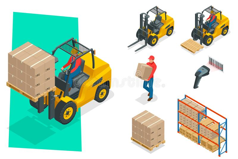 Isometrische vectordievorkheftruck op wit wordt geïsoleerd Het pictogramreeks van het opslagmateriaal Forklifts in diverse combin stock illustratie