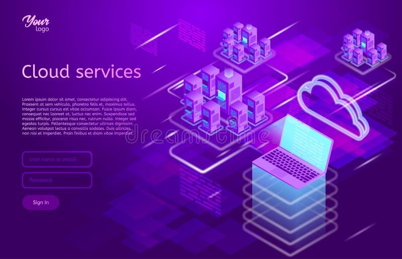 Isometrische vectorillustratie die de wolk van het het conceptenlaptop en Web van de gegevensverwerkingsdiensten servers tonen De royalty-vrije illustratie
