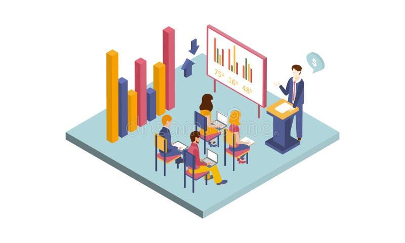 Isometrische vectorillustratie van handelsconferentie Mens die grafiek voorstellen Mensen die met laptops en boeken zitten stock illustratie