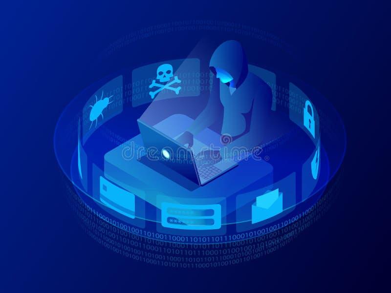 Isometrische vectorinternet-hakkeraanval en persoonlijk gegevensbeveiligingconcept Computerbeveiligingtechnologie E-mailspam stock illustratie