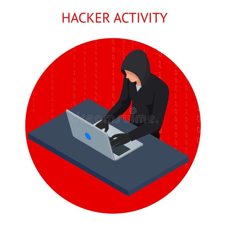 Isometrische vectorinternet-hakkeraanval en persoonlijk gegevensbeveiligingconcept Computerbeveiligingtechnologie E-mailspam royalty-vrije illustratie