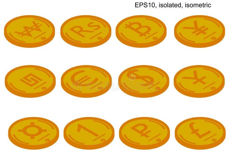 Isometrische vectormuntstukreeks wereldmunten Isometrische pictogrammen royalty-vrije illustratie