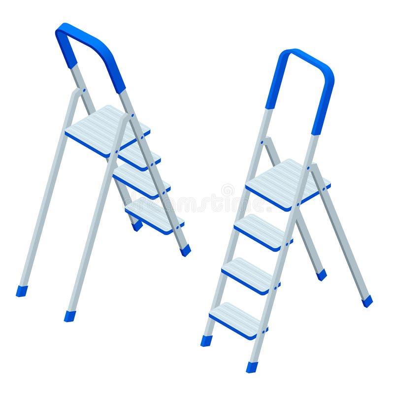 Isometrische vectortrapladder die op wit wordt geïsoleerd Geïsoleerd op wit Ladder voor arbeiders, schilders, ingenieurs, herstel royalty-vrije illustratie