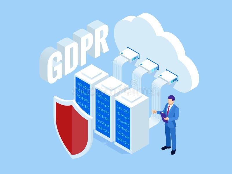 Isometrische veiligheidszaken Algemeen Gegevensbeschermingverordening GDPR concept Idee van gegevensbescherming Online veiligheid vector illustratie