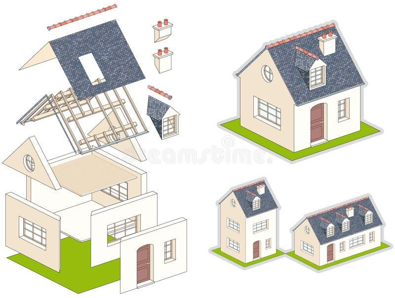 Isometrische vektorabbildung eines Hauses im Satz lizenzfreie abbildung