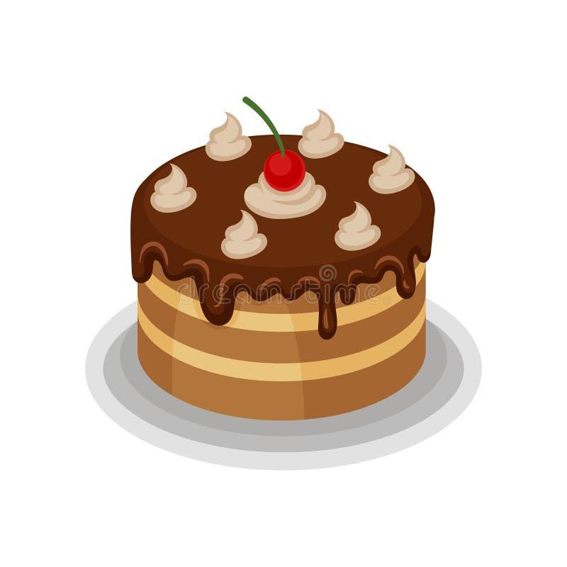 Isometrische Vektorikone des großen geschmackvollen Kuchens mit Schokoladenbelag, Schlagsahne und roter Kirsche auf die Oberseite lizenzfreie abbildung