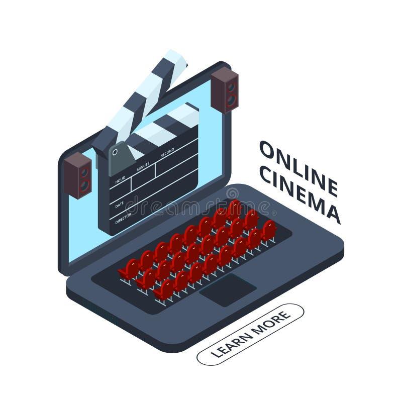 Isometrische Vektorikone des on-line-Kinos Heimkino-Illustration lizenzfreie abbildung