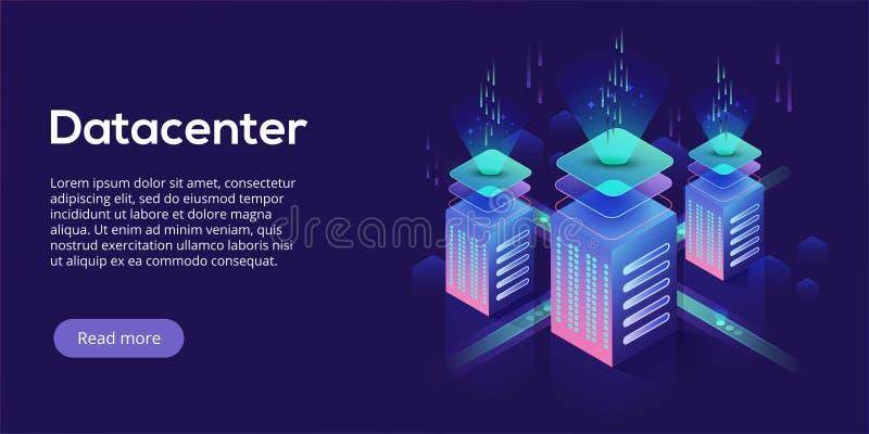 Isometrische Vektorillustration Datacenter Abstraktes 3d, das Se bewirtet vektor abbildung