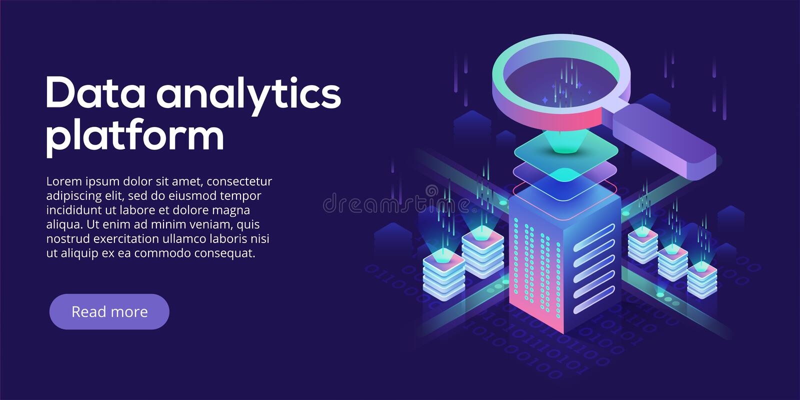 Isometrische Vektorillustration der Datenanalytikplattform Auszug stock abbildung