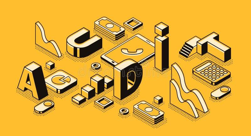 Isometrische Vektorillustration der Geschäftsrechnungsprüfungsbuchstaben stock abbildung