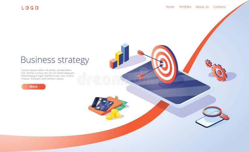 Isometrische Vektorillustration der Gesch?ftsstrategie Daten Analytics f?r Firmenvermarktende L?sungen oder Finanzleistung stock abbildung