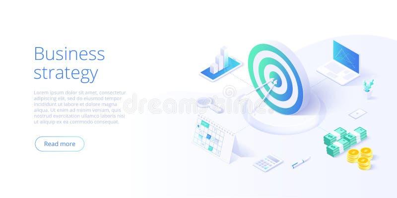 Isometrische Vektorillustration der Gesch?ftsstrategie Daten Analytics f?r Firmenvermarktende L?sungen oder Finanzleistung etat stock abbildung