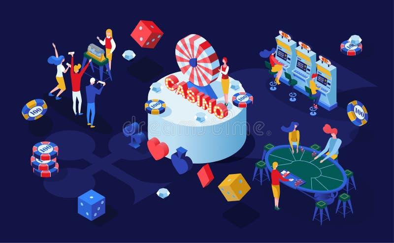 Isometrische Vektorillustration der Kasinoglücksspiele Spieler, die Schürhaken, BlackjackKartenspiele und Bingolotterie 3D spiele vektor abbildung