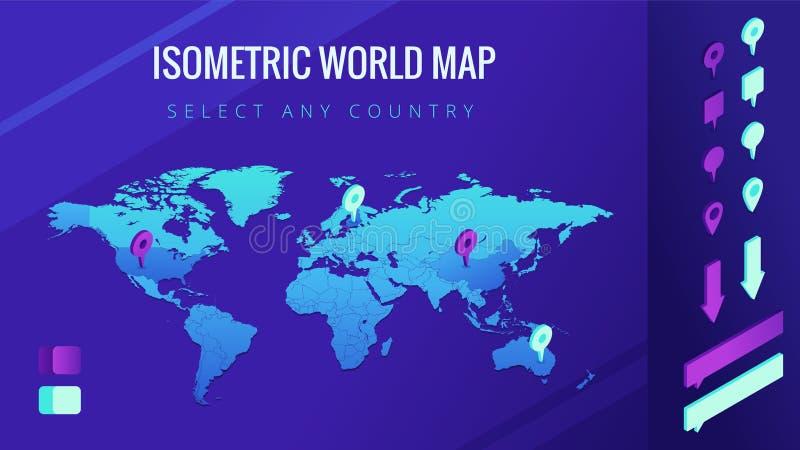 Isometrische Vektorillustration der Weltkarte stock abbildung