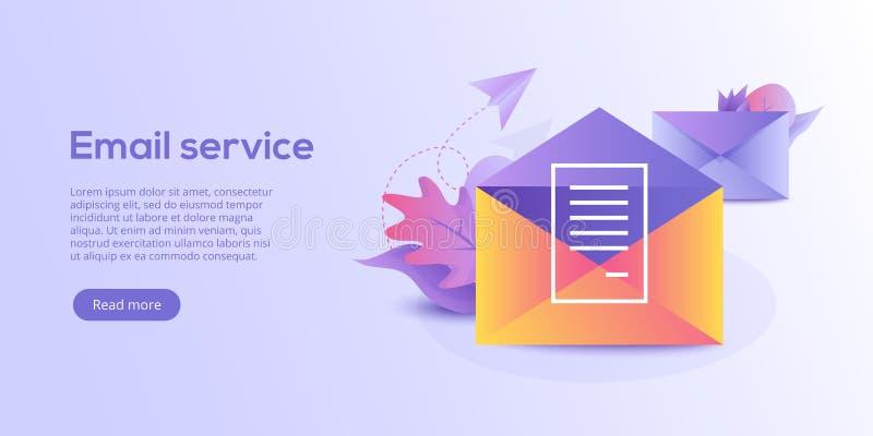 Isometrische Vektorillustration des E-Mail-Service Elektronische Post mes vektor abbildung