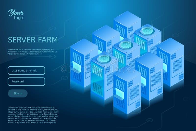 Isometrische Vektorillustration des Rechenzentrums Konzept des Web-Hosting-Server-Raumgestells lizenzfreie abbildung
