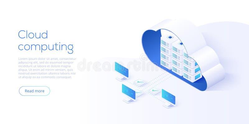 Isometrische Vektorillustration des Wolkenspeicherdownloads Digital-Se lizenzfreie abbildung
