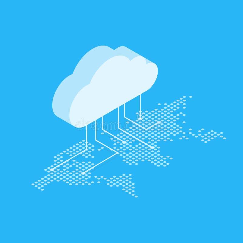 Isometrische Vektorillustration, die das Konzept der Wolkendatenverarbeitung zeigt Von der Wolke in der Weltkarte lizenzfreie abbildung