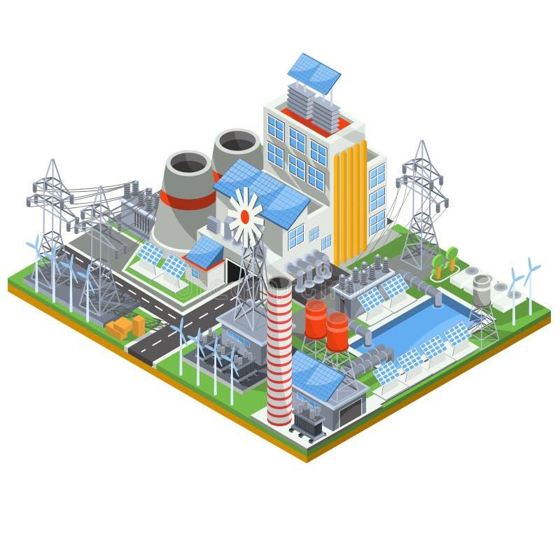 Isometrische Vektorillustration eines thermischen Wärmekraftwerks, das auf alternativen Energiequellen läuft vektor abbildung