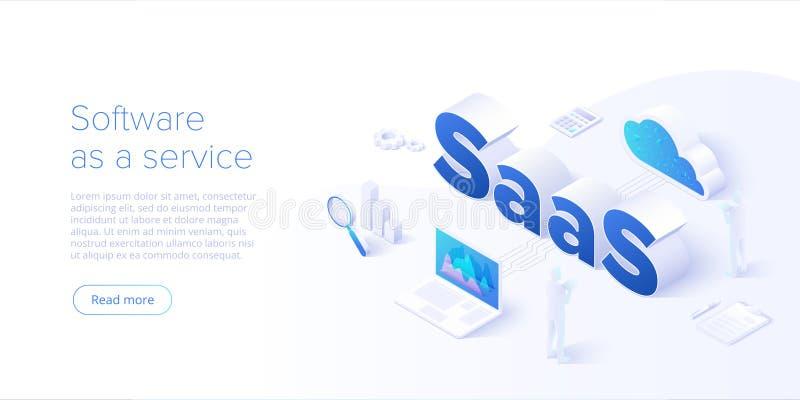 Isometrische Vektorillustration Saas Software als Service oder Bedarfskonzepthintergrundentwurf Datenverarbeitungssegmentmetapher stock abbildung