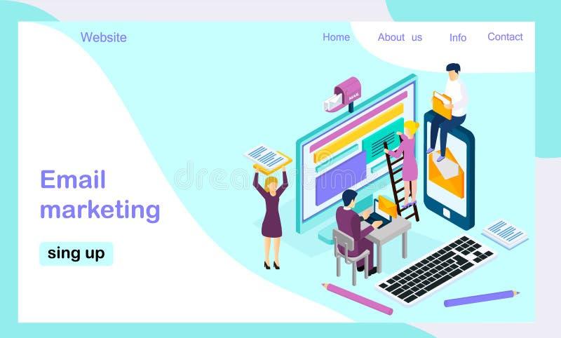 Isometrische Vektorlandungs-Seitenschablone für E-Mail-Marketing lizenzfreie abbildung